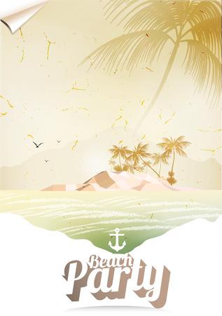 Vintage Seaside View Poster met Tropical Island en Palm Trees