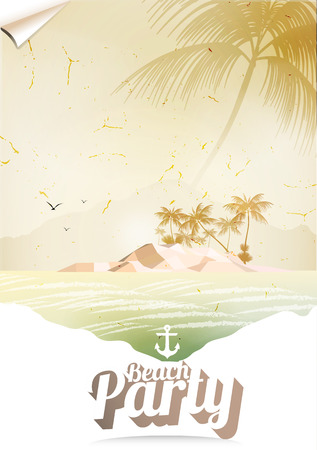 Vintage Seaside View Poster with Tropical Island and Palm Trees