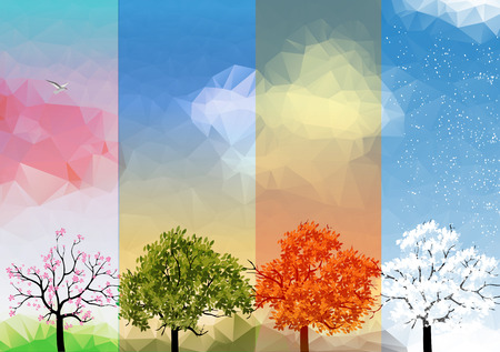 Four Seasons Banners with Abstract Trees Illustration  イラスト・ベクター素材
