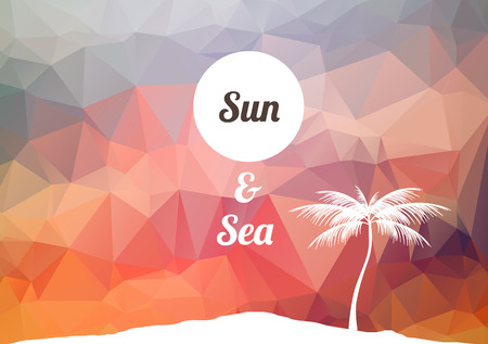 Beach Party Poster with Tropical Island and Palm Trees Illustration Vector