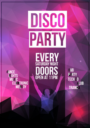 Disco Party Flyer Background Template with Disco Ball Illustration Vector