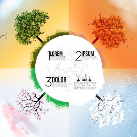 Four Seasons Banners met abstracte bomen