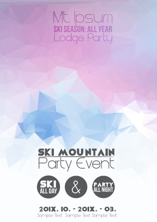 skis: Ski Party Poster Template with Mountain in Clouds Illustration