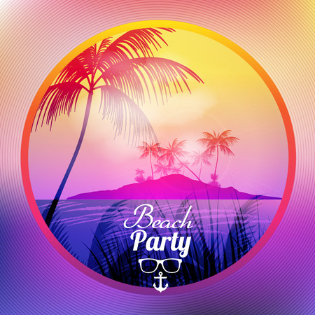 happiness people silhouette on the sunset: Summer Beach Party Flyer Design