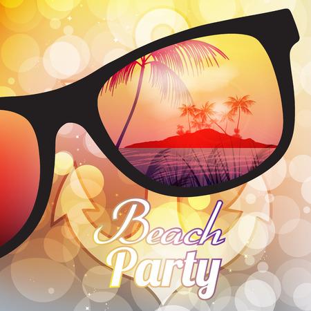 ぼやけて背景イラストにサングラスと夏のビーチ パーティーのフライヤー デザイン