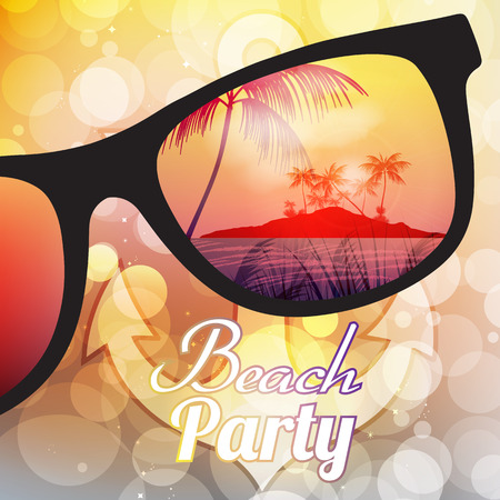 Summer Beach Party Flyer Design with Sunglasses on Blurred Background Illustration Vector