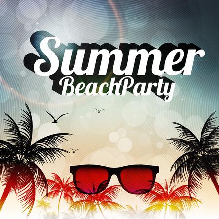 vacanza al mare: Summer Beach Party Flyer design con palme - illustrazione vettoriale