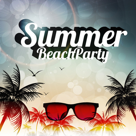 Summer Beach Party Flyer Design with Palmtrees - Vector Illustration Çizim