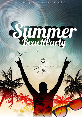 Summer Beach Party Flyer Template - Vector Illustration