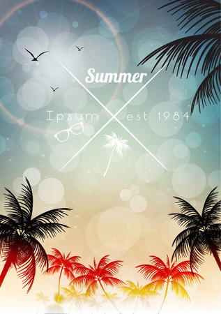 Retro Summer Calligraphic Design - Vector Illustration Vector
