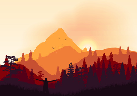 overlook: Colorful Countryside Mountain Ridges and Pine Fores - Vector illustration