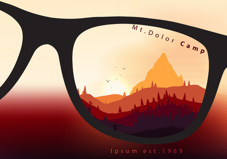ridges: Colorful Countryside Mountain Ridges and Pine Fores - Vector illustration