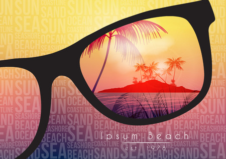 beach sunset: Summer Beach Party Flyer Design with Sunglasses on Blurred Background - Vector Illustration
