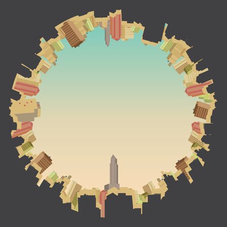 abstract building: Fish eye View of a City Skyline  Illustration