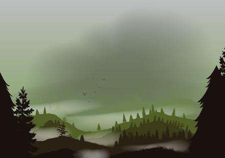rockies: Foggy Mountain Landscape Applique
