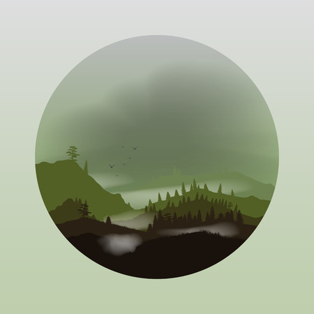 overlook: Foggy Mountain Landscape Applique