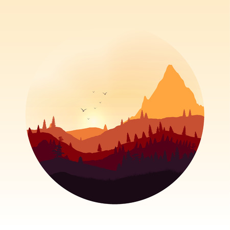 Colourful Mountain Landscape Applique - Illustration