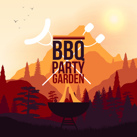 BBQ Party Garden Poster - Vector Illustration  イラスト・ベクター素材