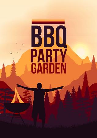 garden party: BBQ Party Garden Poster  Illustration