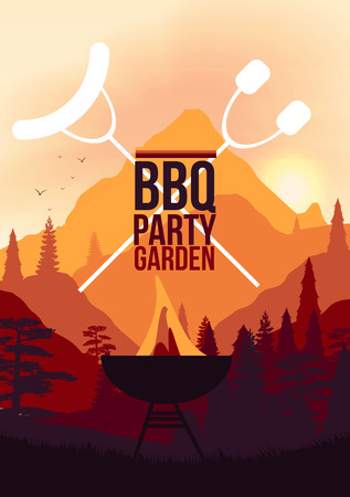 BBQ Party Garden Poster Illustration