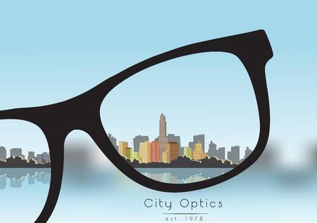 miopia: Out of Focus Business Building Citt� con Sky e con gli occhiali che correggono la visione Vettoriali