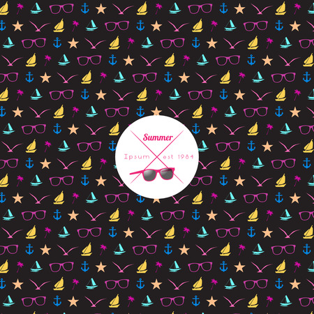 Seamless Summer Pattern with Simple Shapes  Vector