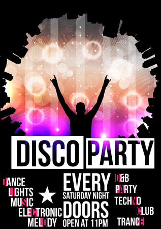 Disco Party Poster Background Template  向量圖像