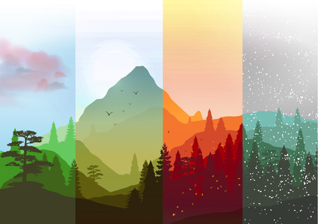 Four Seasons Banners with Abstract Forest and Mountains  Illustration