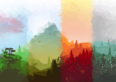 Four Seasons Banners with Abstract Forest and Mountains  向量圖像