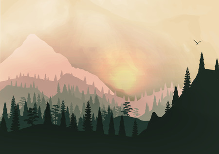 Sunset Panorama of Mountain Ridges and Pine Forest Ilustrace