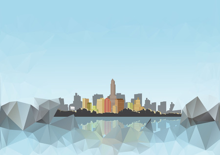 reflections: City Skyline with Abstract Reflections Background