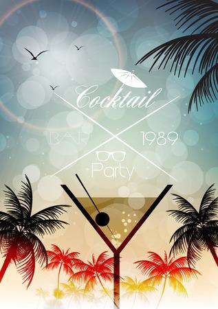 happy hours: Parti Affiche Invitation de cocktail Illustration