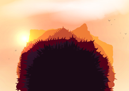 layered sphere: Forest Sunset Mountains Planet  Illustration