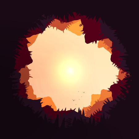 layered sphere: Forest Sunset Mountains Tunnel View  Illustration