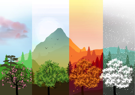 Four Seasons Banners with Abstract Trees and Mountains - Vector Illustration