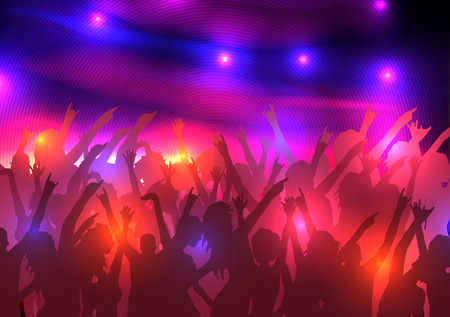 Party Crowd with Disco Spot Lights Background Template  Ilustrace