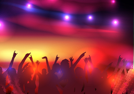 Party Crowd with Disco Spot Lights Background Template Vettoriali