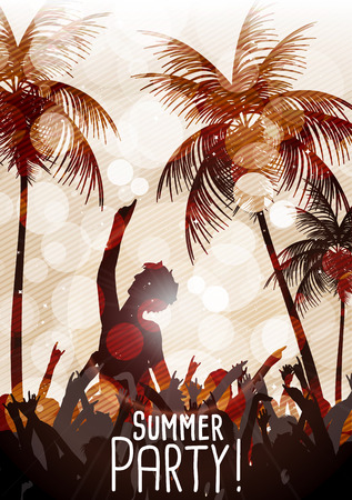 Summer Beach Party Flyer with Dancing People  Vector