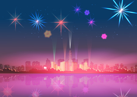 City Skyline at Night with Reflections and Fireworks Display Background  Illustration