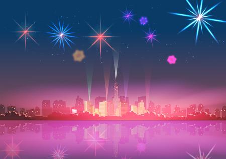 Horizon van de stad bij nacht met Reflections en Vertoning van het Vuurwerk Achtergrond Stock Illustratie