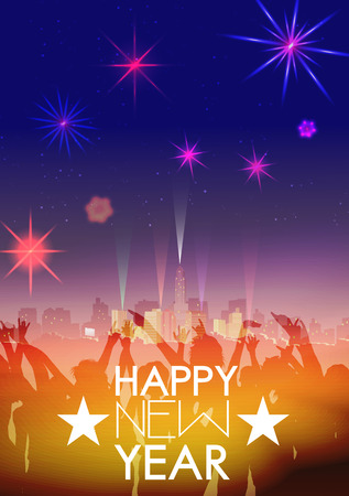 works: New Year Party Poster Template with City Skyline and Fireworks