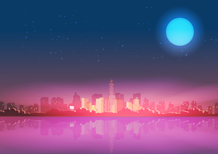 reflections: City Skyline at Night with Reflections Background  Illustration