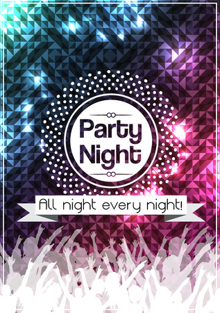 rave: Party Night Poster Background Template  Illustration