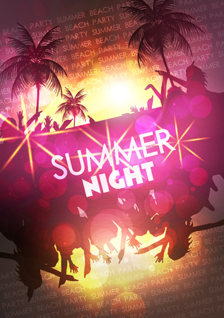 Summer Beach Party Vector Flyer - Vector Illustration