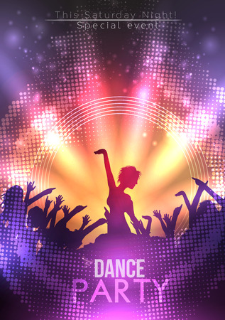 Disco Party Poster Background Template - Vector Illustration  イラスト・ベクター素材