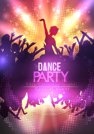 Disco Party Poster Background Template - Vector Illustration Illustration