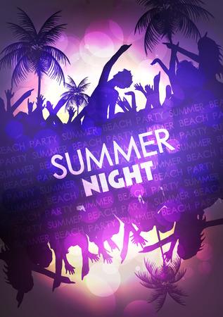 Summer Beach Party Vector Flyer - Vector Illustration Vector