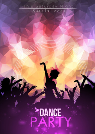 disco backdrop: Dance Party Poster Background Template - Vector Illustration Illustration
