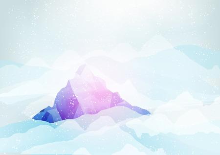pico: Pico Monta�as nevadas con las nubes debajo de ella - ilustraci�n vectorial