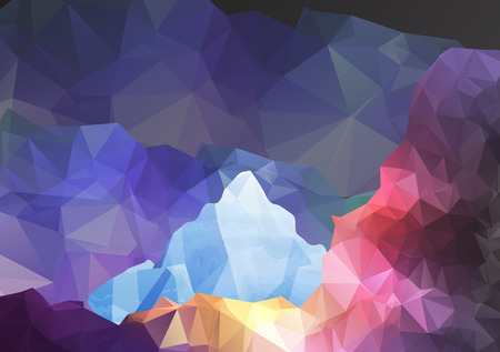 Geometric Fantasy Mountain Background - Vector Illustration Vector